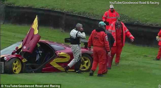 Another supercar in the wall! Pink Floyd drummer Nick Mason crashes his McLaren F1 GTR while racing at Goodwood