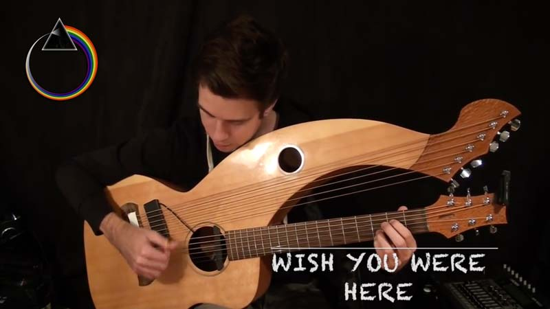 "Watch Pink Floyd's ""Wish You Were Here"" Amazing Cover On A Harp Guitar"